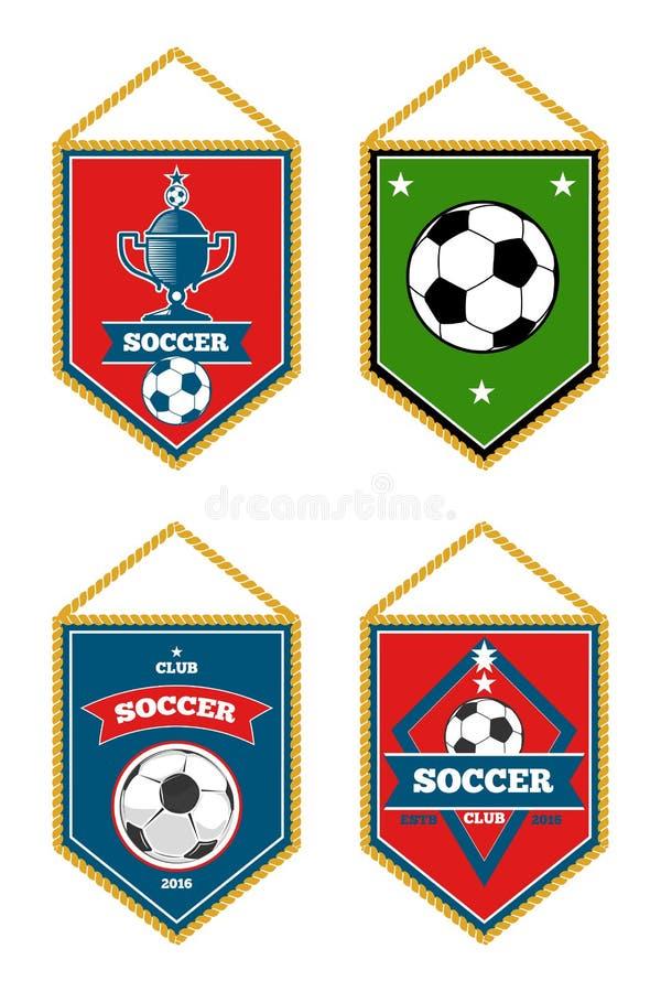 Gli stendardi di calcio messi hanno isolato il bianco illustrazione vettoriale