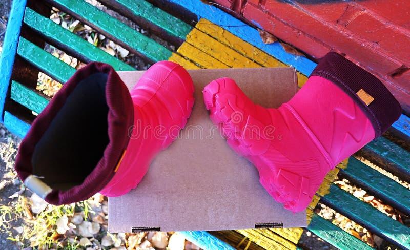 Gli stivali dei bambini intelligenti e comodi con un collo alto Adatto ad inverno, ad autunno ed a primavera Il rivestimento inte fotografia stock