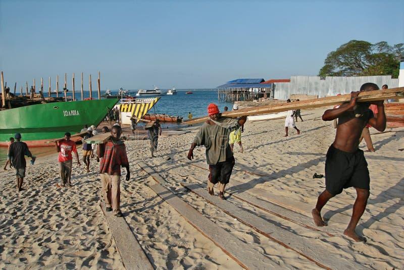 Gli stivatori africani scaricano la nave del legname in porto di Zanzibar, Tanza fotografia stock