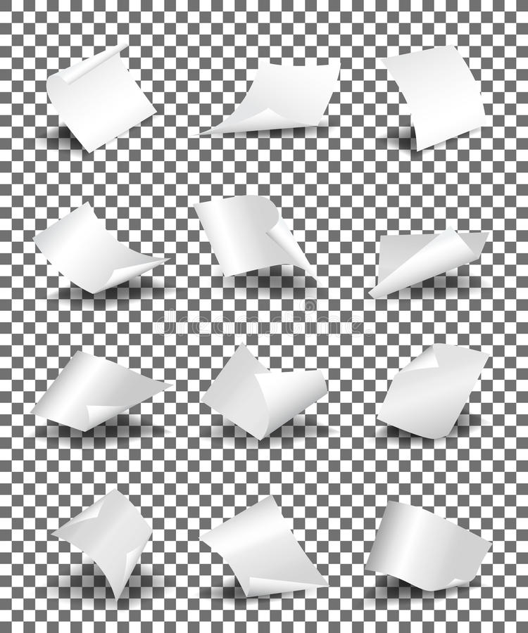 Gli strati di carta vuoti su fondo trasparente vector l'illustrazione illustrazione vettoriale