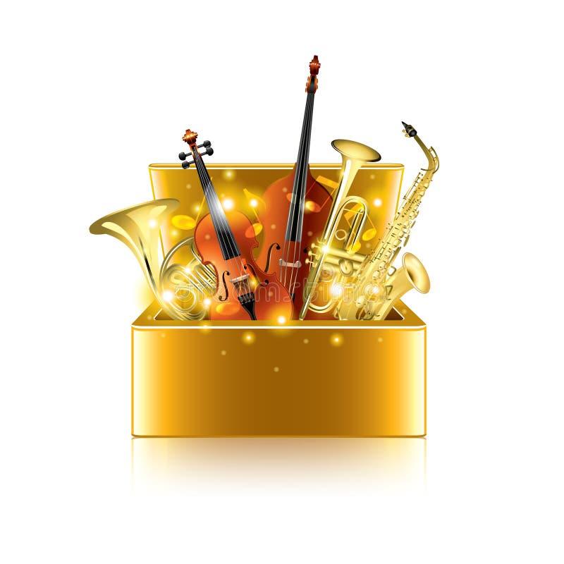 Gli strumenti musicali inscatolano sul vettore bianco illustrazione vettoriale
