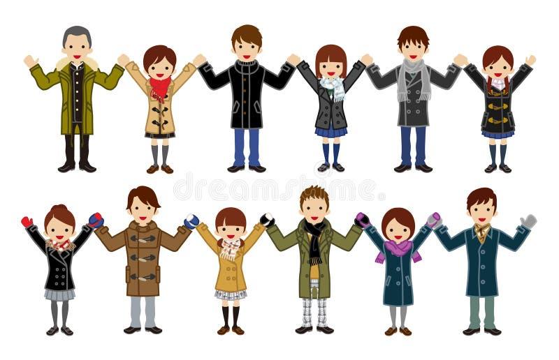 Gli studenti giapponesi della High School hanno messo - tenendosi per mano, modo dell'inverno royalty illustrazione gratis