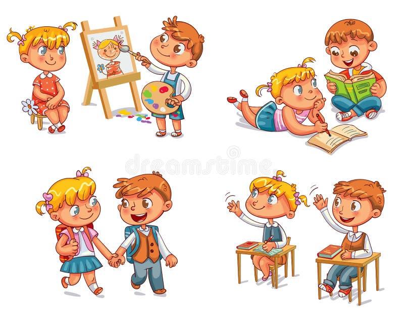 Gli studenti hanno messo la mano su nella stanza di classe illustrazione di stock