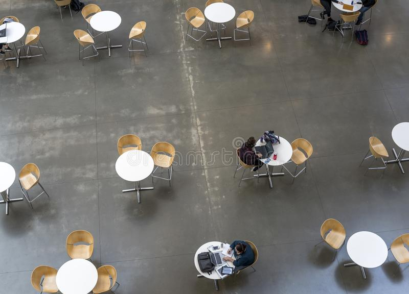 Gli studenti lavorano alle assegnazioni mentre si siedono nell'ingresso alle tavole rotonde fotografia stock libera da diritti