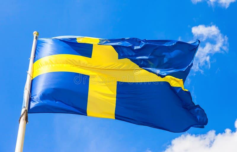 Gli svedese inbandierano il blu con l'incrocio giallo che ondeggia nel vento fotografia stock libera da diritti