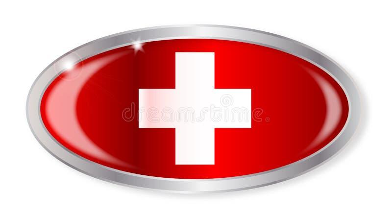 Gli svizzeri inbandierano il bottone ovale illustrazione di stock