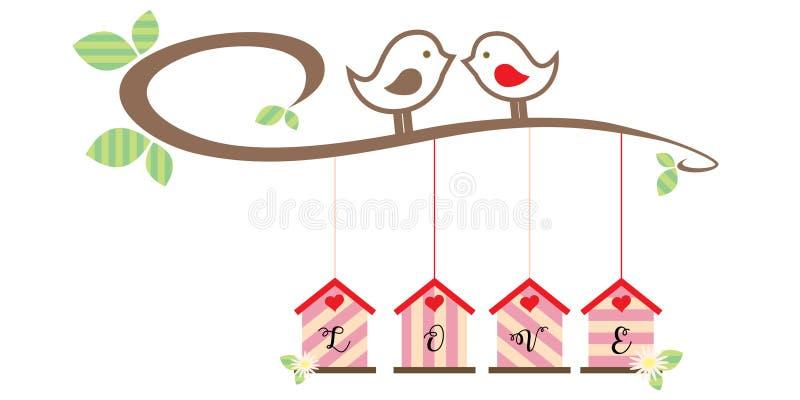 Gli uccelli amorosi di sweeValentine del coniglietto di sonno restano sul ramo sopra le case d'attaccatura con le lettere AMANO i illustrazione vettoriale