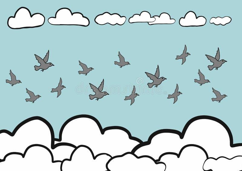 Gli uccelli astratti di schizzo di scarabocchio di tiraggio della mano volano nel fondo del cielo, vettore illustrazione vettoriale