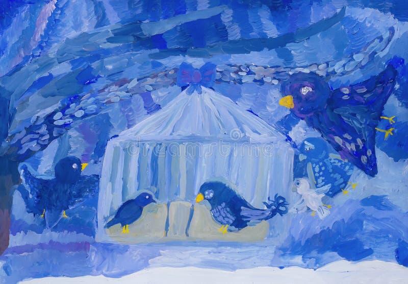 Gli uccelli dell'inverno hanno volato per mangiare fotografia stock