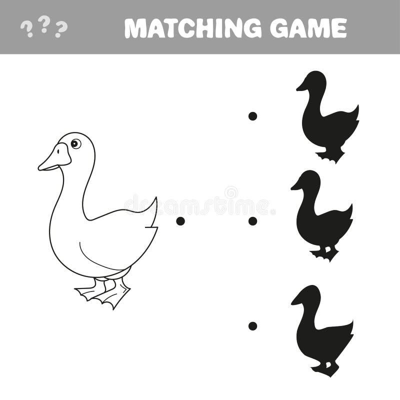 Gli uccelli dell'oca ombreggiano l'illustrazione di vettore del gioco della corrispondenza illustrazione vettoriale