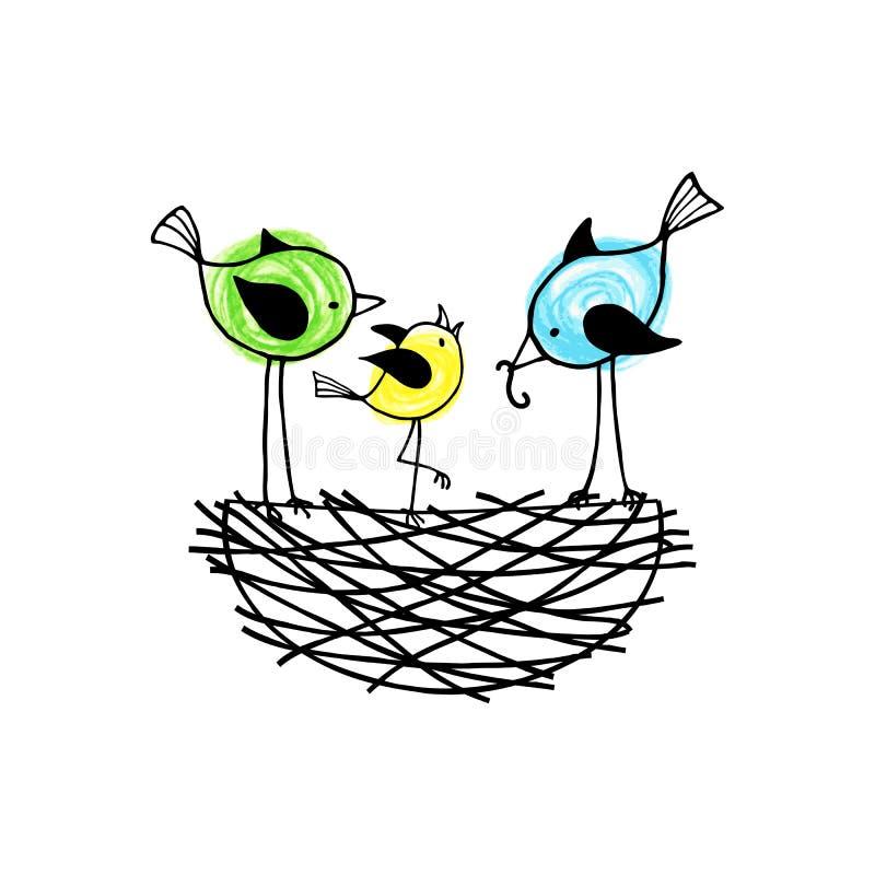 Gli uccelli della famiglia in un nido, i genitori alimentano il loro uccellino implume illustrazione vettoriale