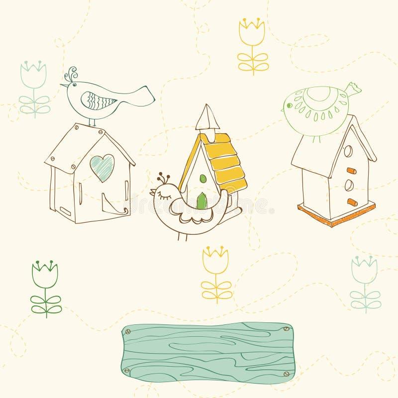 Gli uccelli e l'uccello alloggia i doodles illustrazione vettoriale