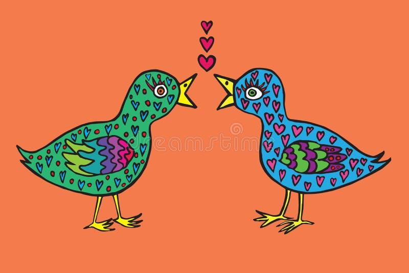 Gli uccelli si accoppiano nell'amore con le piume di forma del cuore, scarabocchio disegnato a mano, schizzo nel naïve, stile di illustrazione di stock
