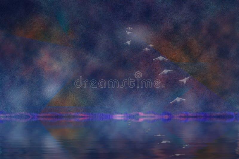 Gli uccelli sorvola il lago illustrazione di stock