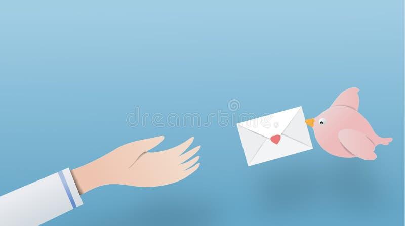 Gli uccelli stanno inviando le lettere alla mano vettore di spazio di carta della copia di arte p illustrazione vettoriale