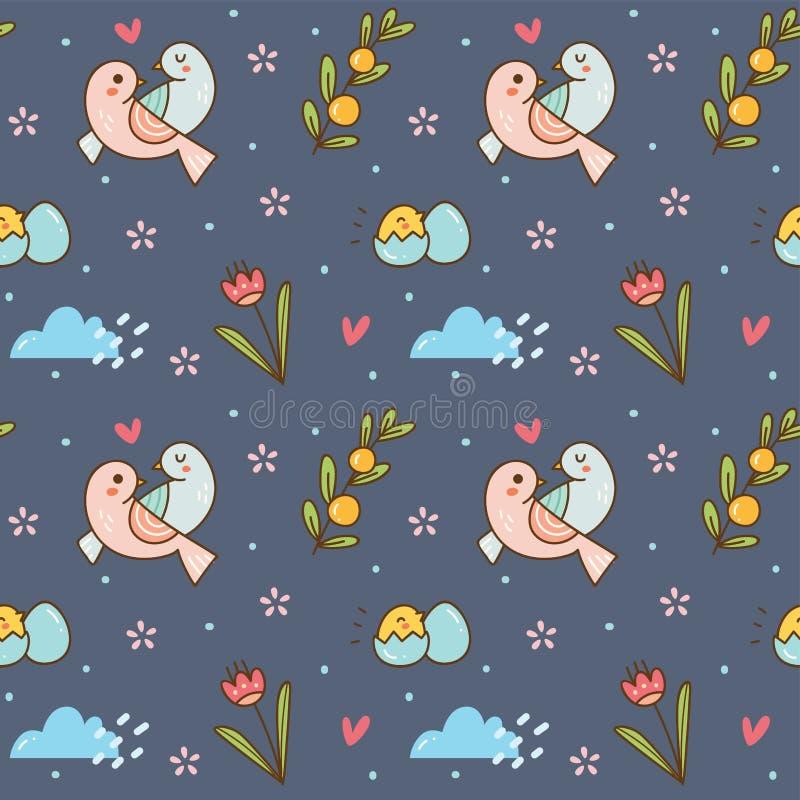 Gli uccelli svegli coppia il modello senza cuciture illustrazione vettoriale