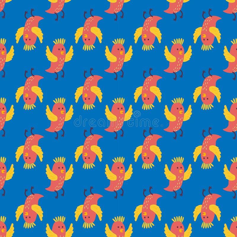 Gli uccelli svegli pilotano il fumetto senza cuciture dell'illustrazione di vettore del modello delle ali variopinto illustrazione di stock