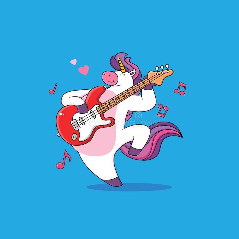 Gli unicorni del fumetto stanno giocando la chitarra illustrazione di stock