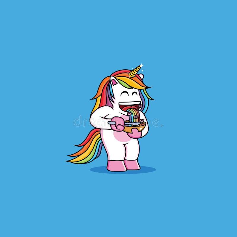 Gli unicorni stanno mangiando il cereale con la ciambella illustrazione vettoriale