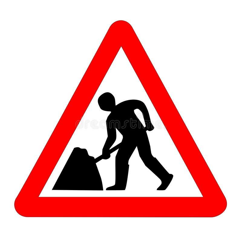 Gli uomini al segnale stradale del lavoro hanno isolato illustrazione vettoriale