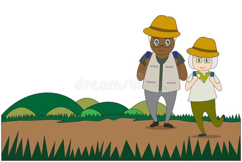 Gli uomini anziani e l'ente in buona salute delle donne che fa le attività all'aperto camminano nella foresta illustrazione vettoriale