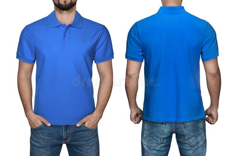 Gli uomini in camicia di polo blu in bianco, parte anteriore e vista posteriore, hanno isolato il fondo bianco Progetti la camici fotografie stock libere da diritti