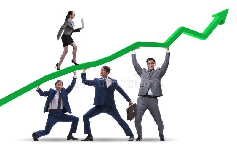 Gli uomini d'affari che sostengono sviluppo economico isolato su bianco fotografia stock