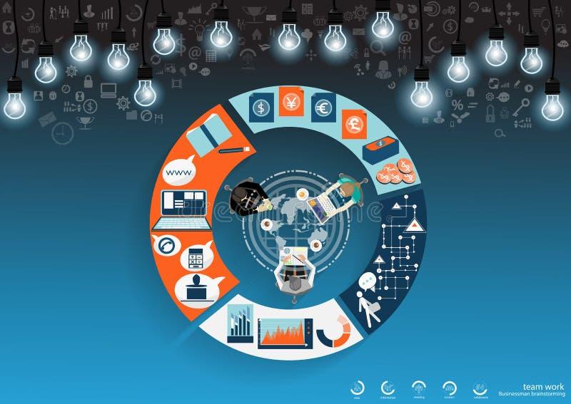 Gli uomini d'affari di vettore confrontano le idee insieme a successo globale con la progettazione piana dell'icona della lampadi illustrazione vettoriale
