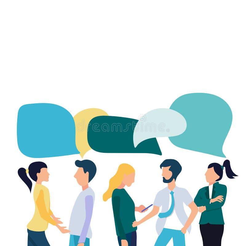 Gli uomini d'affari discutono la rete sociale, notizie, reti sociali, chiacchierata, fumetti di dialogo Vettore piano illustrazione vettoriale