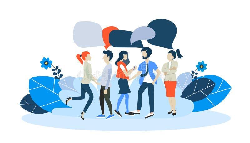 Gli uomini d'affari discutono la rete sociale, notizie, reti sociali, chiacchierata, fumetti di dialogo Vettore piano illustrazione di stock