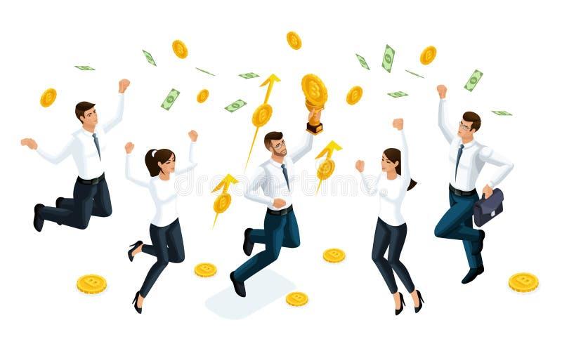 Gli uomini d'affari isometrici saltano e godono di grandi soldi che sono serviti dal cielo Il concetto di fabbricazione dei soldi royalty illustrazione gratis