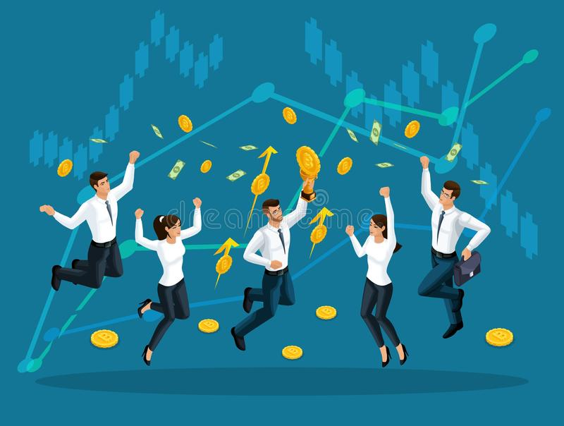 Gli uomini d'affari isometrici sono saltanti e godenti di grandi soldi che sono serviti dal cielo sui precedenti dei grafici di c illustrazione vettoriale
