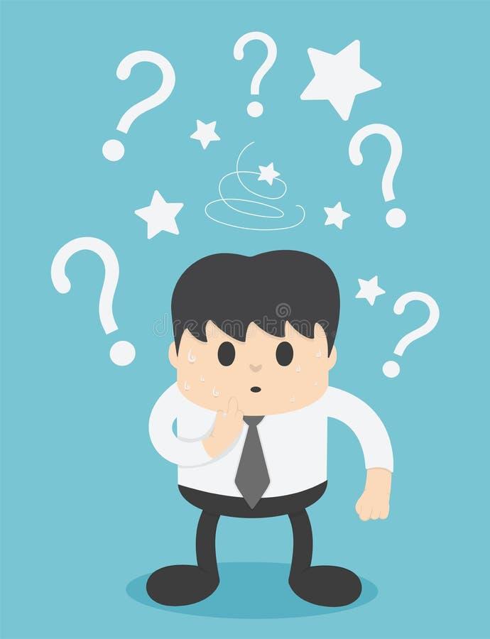 Gli uomini d'affari sono confusi ed hanno punti interrogativi illustrazione di stock
