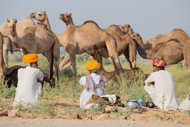 Download Gli Uomini Dell'indiano Tre Hanno Assistito Al Cammello Annuale Mela Di Pushkar Fotografia Stock Editoriale - Immagine di herder, asiatico: 56884968