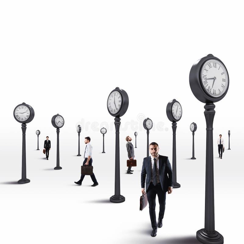 Gli uomini di affari tengono sempre un occhio sull'orologio rappresentazione 3d fotografia stock libera da diritti