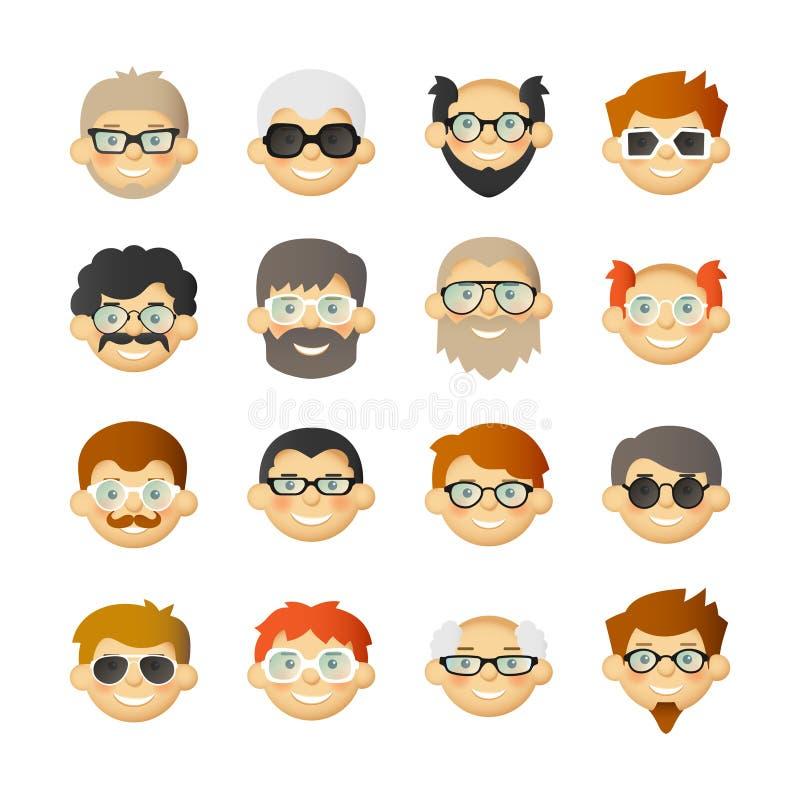Gli uomini dirigono l'icona dell'avatar messa con le barbe, i baffi, i vetri e le guance ottimistiche illustrazione vettoriale