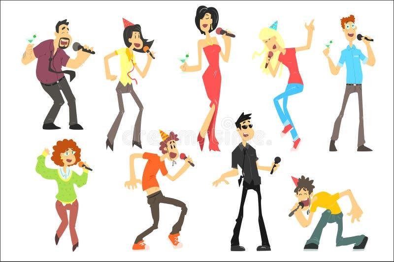 Gli uomini e le donne che cantano il karaoke con i microfoni hanno messo, illustrazioni di vettore dei cantanti di karaoke su un  illustrazione di stock