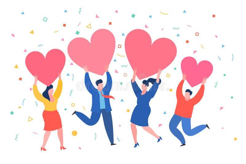 Gli uomini e le donne tengono i cuori Giorno di Valenine Amore e relazione illustrazione vettoriale
