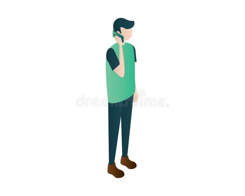 Gli uomini equipaggiano il vettore isometrico dell'illustrazione del telefono cellulare di chiamata, uomini isometrici, la gente  illustrazione vettoriale