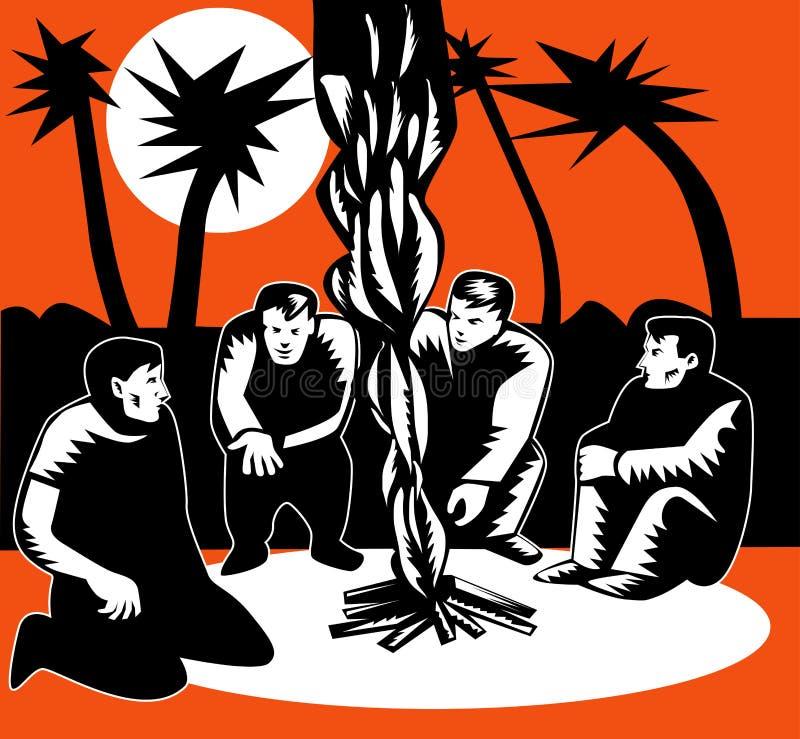 Gli uomini huddled nel falò del fuoco di accampamento royalty illustrazione gratis