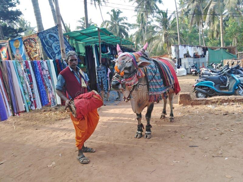 Gli uomini indiani hanno vestito lo stile locale con una mucca Mercato delle pulci di mercoled? Anjuna L'India, Goa immagine stock