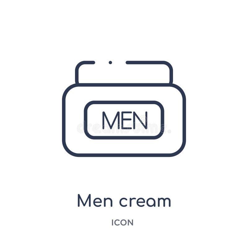 Gli uomini lineari scremano l'icona dalla raccolta del profilo di bellezza Linea sottile vettore della crema degli uomini isolato royalty illustrazione gratis