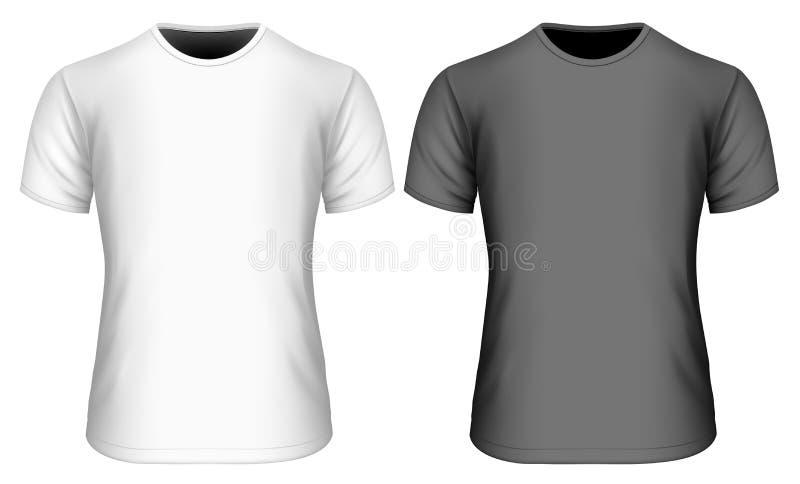 Gli uomini mettono la maglietta in cortocircuito della manica in bianco e nero illustrazione vettoriale