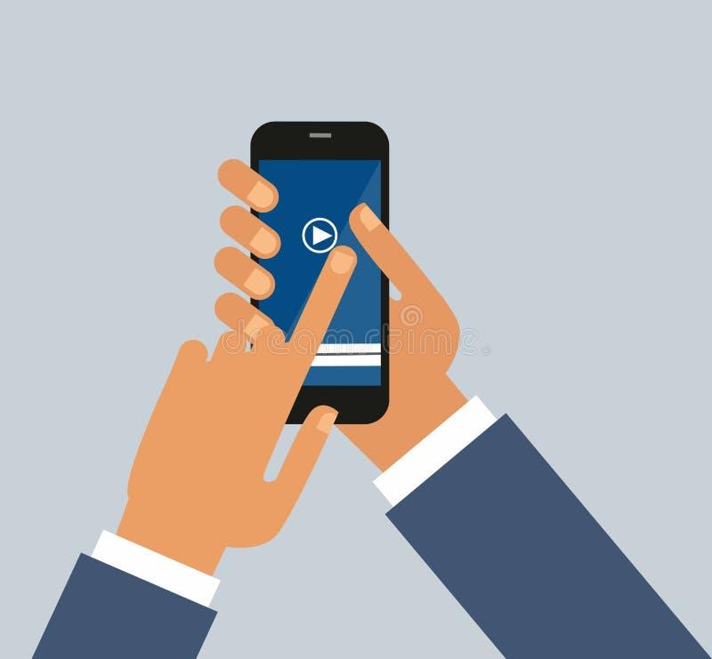 Gli uomini passa tiene lo smartphone Applicazione del riproduttore video sul vostro schermo dello smartphone video illustrazione di stock