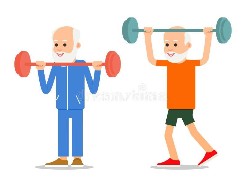 Gli uomini più anziani si esercitano al sollevamento del bilanciere Gente adulta dentro illustrazione vettoriale