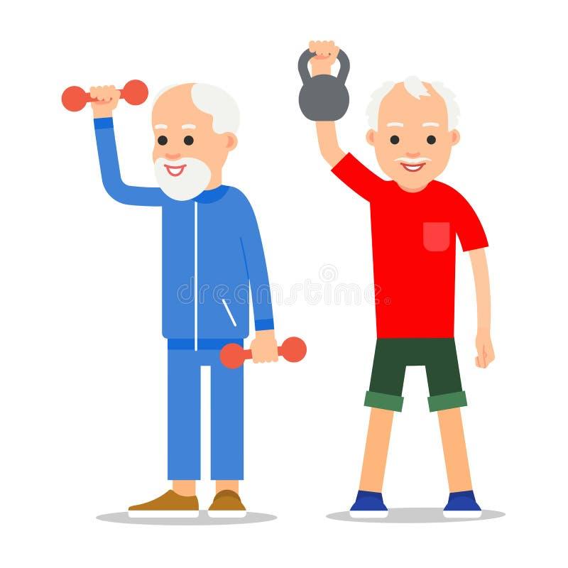 Gli uomini più anziani si esercitano a sollevamento pesi Gente adulta nella v royalty illustrazione gratis