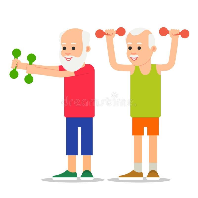 Gli uomini più anziani si esercitano a sollevamento pesi Gente adulta nella v illustrazione vettoriale