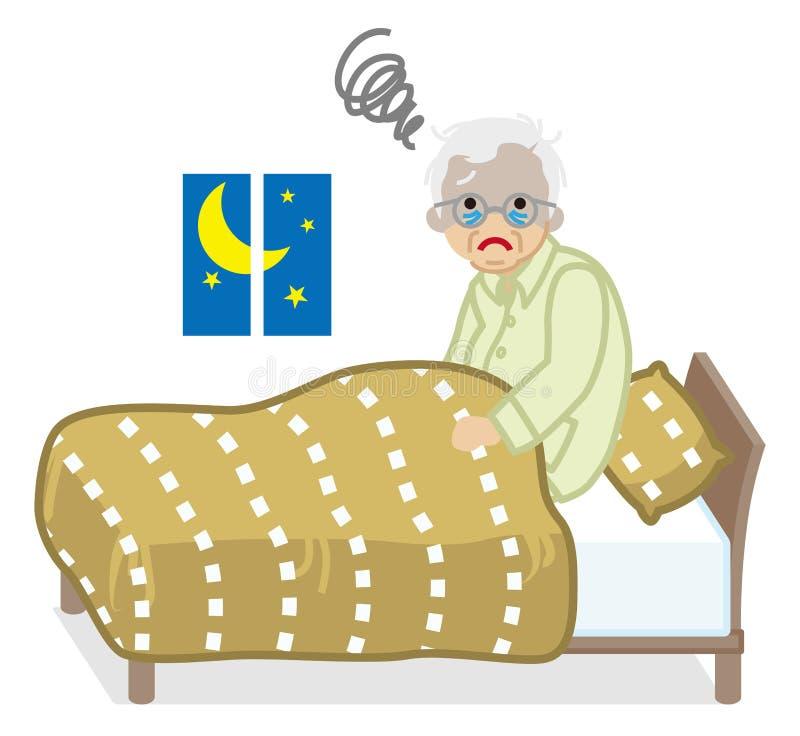 Gli uomini senior soffre l'insonnia illustrazione vettoriale