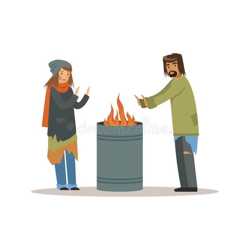 Gli uomini senza tetto e la donna che si riscaldano vicino al fuoco, la gente di disoccupazione che ha bisogno dell'aiuto vector  illustrazione di stock