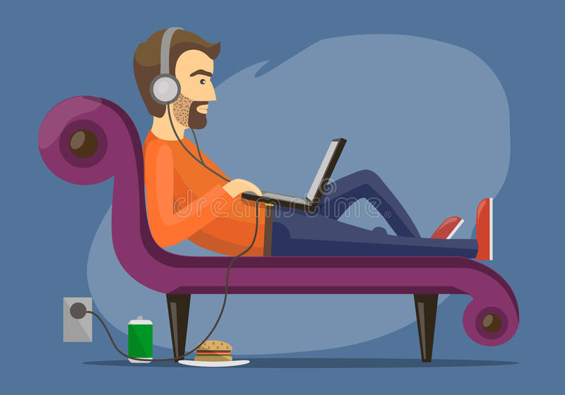 Gli uomini si trova sul sofà illustrazione vettoriale